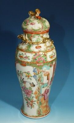 Antique Handpainted Chinese Canton Vase & Cover.