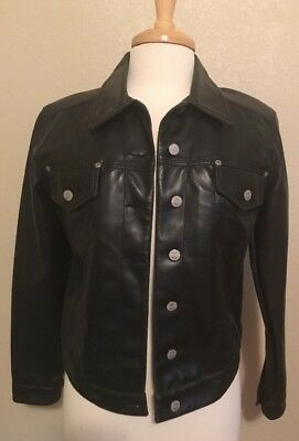 womens faux Black leather jacket size Small Motorcycle Skins