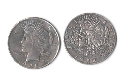 1922 Peace Dollar Two Face Hobo Nickel Style Novelty Skull Zombie Trick Coin