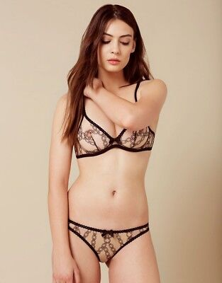 Vintage Agent Provocateur Bailey Black   Nude Stretch Lace Thong Size Small  BNWT dc238bd19