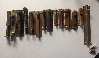 Old Door Furniture Bolts Latches Locks  Cabinet Brass Iron
