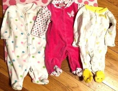 Girl's Sleepers Size Newborn One Piece pink dots bunny feet Free Shipping Ff94