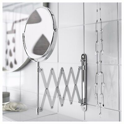 IKEA Extending Makeup Shaving Mirror Stainless Steel 2 Sided Magnifying Makeup