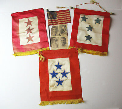 LOT Original WWII Military 3 & 4 STAR Sons in Service Home Front Banner/Flag