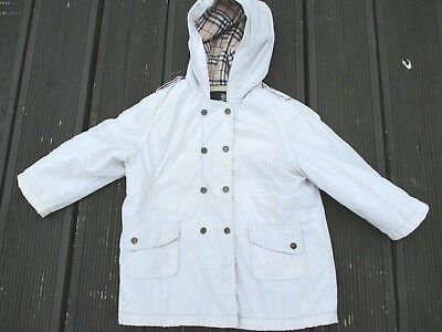Baby Girls Burberry Hooded Age 24 Months Cream Polyamide Coat