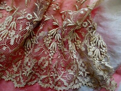 Exquisite Antique Victorian Dimensional Embroidery Hdmd Fine Lace Flounce Trim