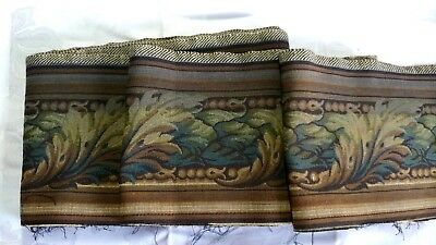 """6.41_Yds_Antique_French_Gobelin_Tapestry_Trim_Edging_6.7""""_Width_Made_In_France"""