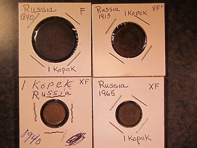 Russia, Four 1 Kopek Copper Coins (1840 to 1965)