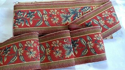 """9.86_Yds_Antique_French_Tapestry_Woven_Trim_Edging_4.8""""_Width_Made_In_France"""
