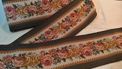"""7.84_Yds_Antique_French_Gobelin_Tapestry_Trim_Edging_6.5""""_Width_Made_In_France"""