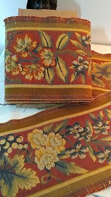 """10_Yds_Antique_French_Tapestry_Woven_Trim_Edging_9.6""""_Width_Made_In_France"""