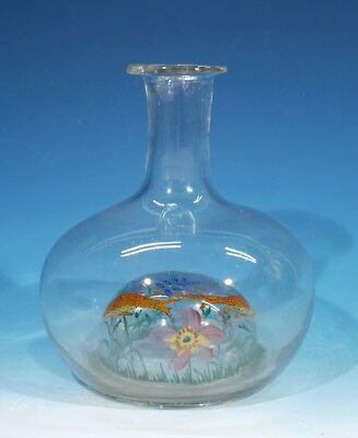 Very Unusual Antique Reverse Painted Glass Carafe Circa 1890-1900.