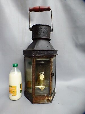 A GOOD COMPLETE STEEL CASED BULLPITT SHIPS CABIN LANTERN * LATE 19th CENTURY *