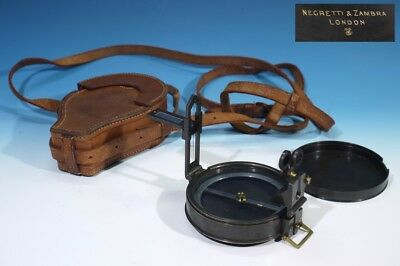 Stunning Vintage / Antique Negretti & Zambra Compass Leather Case Museum Quality