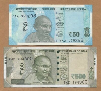2017 - INDIA - 50 VF & 500 VF+ Rupees (p-NEW) 2 Note Lot
