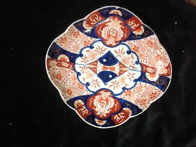 Antique late 19c Japanese porcelain lozenge dish in 3 coloured Imari.