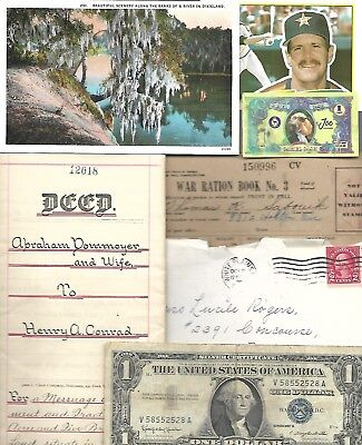HUGE World Paper Document Lot: 75 items w/22 banknotes