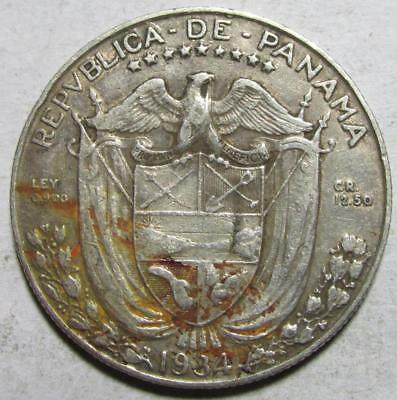 Panama, 1/2 Balboa, 1934, Fine-Very Fine, Low Mintage, .3617 Ounce Silver