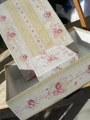 2 superb antique French fabric covered boudoir boxes - 19thC faded florals roses