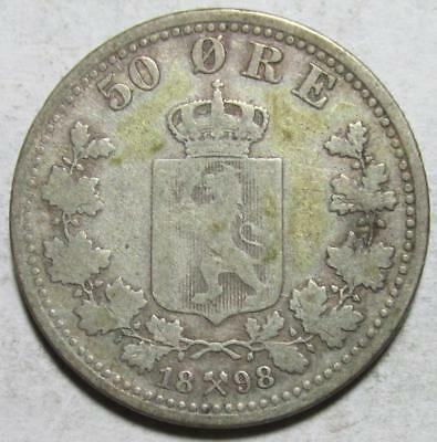 Norway, 50 Ore, 1898, Very Good, .0964 Ounce Silver