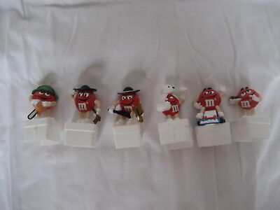 M&m's- Set Of 6 European Square M&m Toppers-  Red Guys Set  **rare Find**