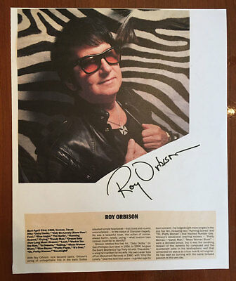 ROY ORBISON Rock & Roll Great HUGE SIGNATURE SHEET with Picture + Bio Attached