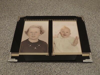 Vintage Art Deco Reverse Painted Glass Picture Frame Double Photo