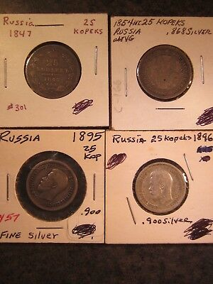 Russia, Four silver 25 Kopek Coins from the 1800's
