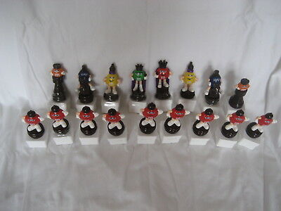 M&m's- Set Of 17 Brown European M&m Chess Toppers Including Pawns-  Square Bases