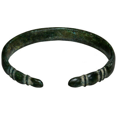 Perfect-Late Roman Bronze Bracelet With Decorated Terminals Circa 400 Ad