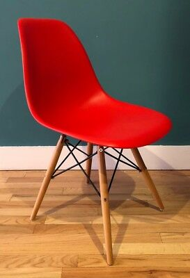 eames style red molded plastic dowel leg side chair charles and ray