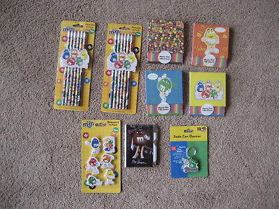 M&m's- 8 Piece M&m Stationary Set & 1 Can Opener-  All Brand New