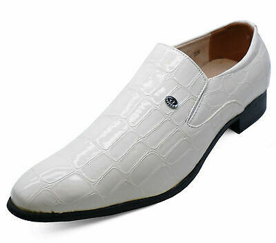 Mens White Slip-On Work Wedding Smart Casual Loafers Formal Shoes Sizes 6-11