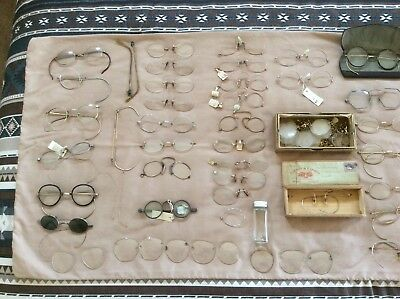 Large Lot of EyeGlasses ANTIQUE, Some are Gold Filled Frames