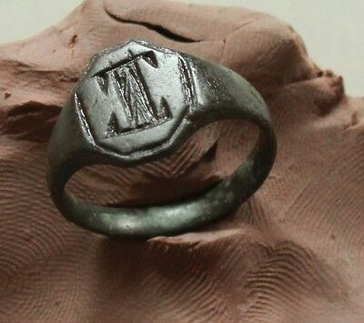 L6  Ancient Medieval Bronze  Ring nice monogram  Size D=22mm Quality 7g