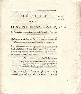 "Original 1793  French Revolution ""DECREE"" (Law)"