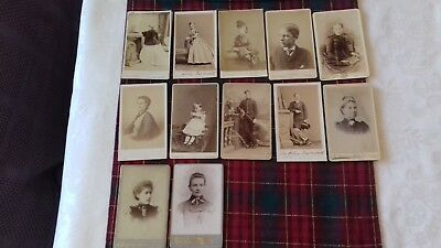 ANTIQUE Victorian Original Studio Cabinet Sepia card Photograph of 12 Job Lot