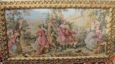 Large French style Renaissance Landscape Scene woven tapestry in gold frame