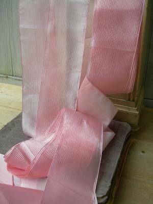 5 metres antique French pure silk sash ribbon - strawberry pink