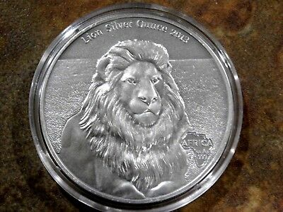 Africa Series 2013: Gabon 1000 Francs Lion Silver Ounce Antique Finish