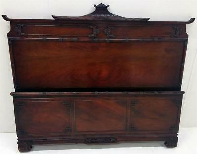 19528 Antique Mahogany Carved Bed Full Size