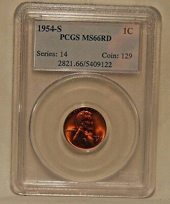 1954-S Lincoln Cent PCGS MS66RD   RICH RED...VERY PQ