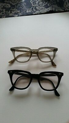 2 pair VINTAGE Bausch Lomb Safety Glasses  48/22 Horn Rim Black Clear Gray