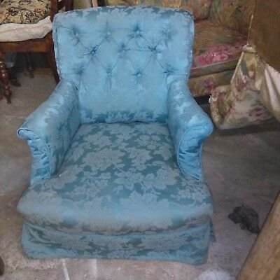 Antique Victorian button back scroll armchair in pretty shape for upholstery