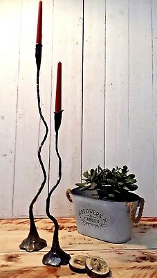 1 LARGE CAST IRON CANDLE HOLDER Vintage Antique ROYAL Industrial Chic Rustic