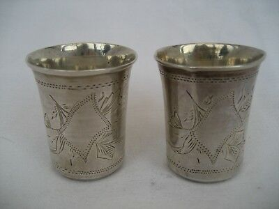 Pair Of Antique Russian Solid Silver Vodka Cups