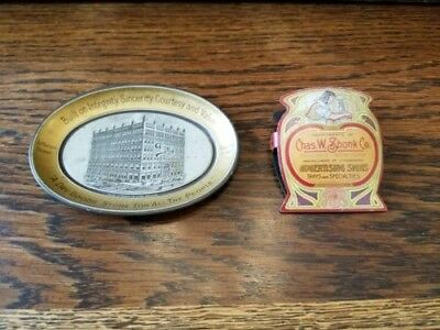 Chas W Shonk Co Lithographed Advertising Signs Paper Clip + Tip Tray Antique