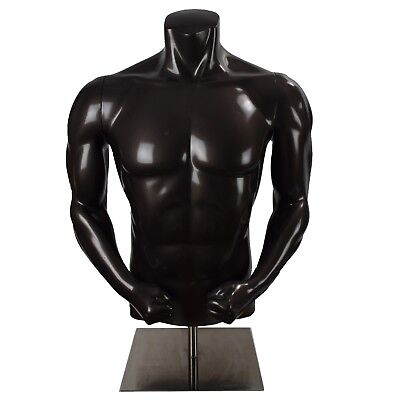 Nikepro Male Torso Fiberglass Athletic Headless Mannequin Gray With Base