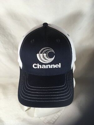 Channel Seed Corn Hat Cap Adjustable Breathable Navy White New