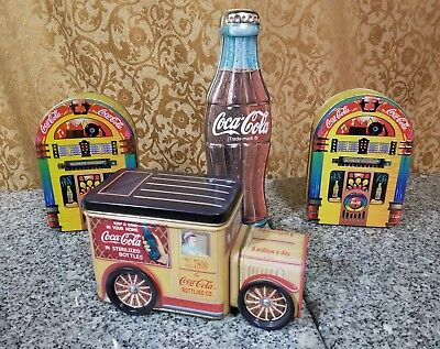 Lot Of 4 COCA-COLA Collector Advertising Tins 1995-96!